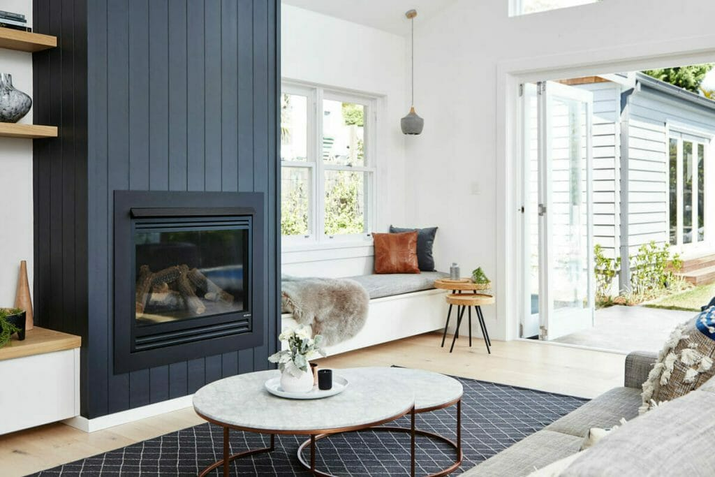 Fireplace with window seat
